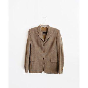 Piazza Sempione Brown Tan Tweed Wool Blazer 42 6